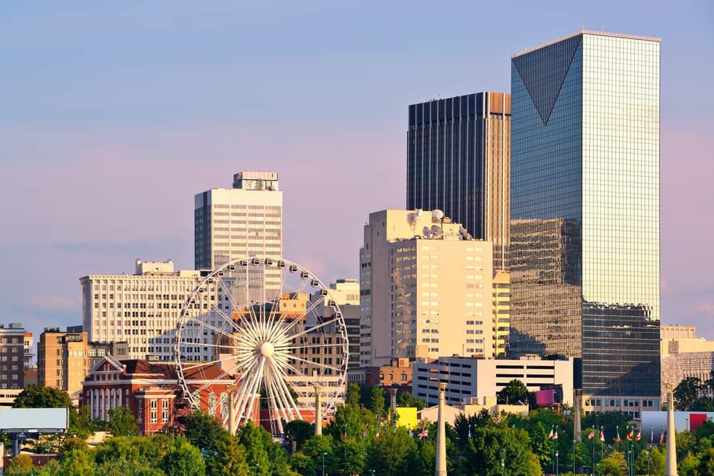 Picture of Atlanta skyline with SkyView Atlanta ferris wheel