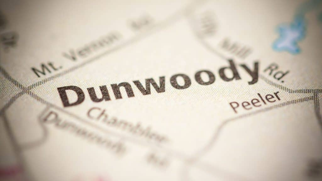 Dunwoody, GA on a map